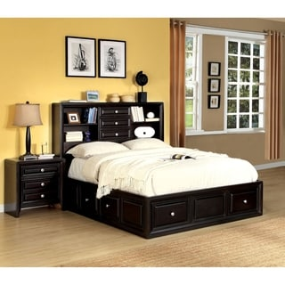 Furniture of America Connerson Espresso 2-Piece Bookcase Headboard Bed with Nightstand Set