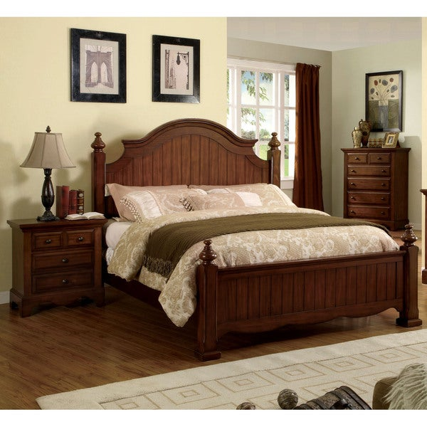 Furniture of America 3-piece Light Walnut Poster Bedroom Set