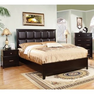 Furniture of America Aiza Modern 2-Piece Espresso Bed with Nightstand Set