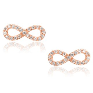 Journee Collection Sterling Silver Cubic Zirconia Infinity Earrings