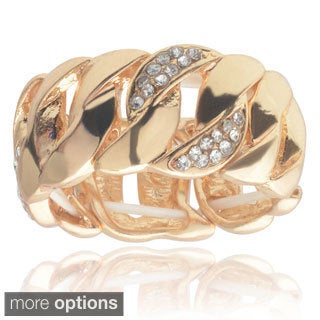 Journee Collection Brass Cubic Zirconia Curb Chain Stretch Ring