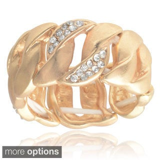 Journee Collection Brass Cubic Zirconia Curb Link Stretch Ring