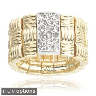 Journee Collection Brass Cubic Zirconia Weave Stretch Ring