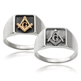 Vance Co. Men's 14k Goldplated Sterling Silver Masonic Ring