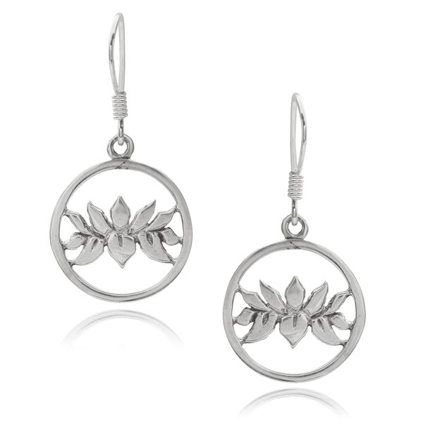 Journee Collection Sterling Silver Lotus Earrings