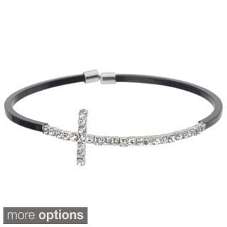 Journee Collection Brass Cubic Zirconia Cross Cuff Bracelet