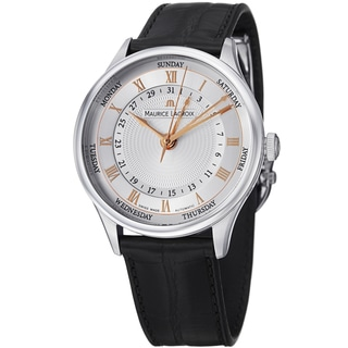 Maurice Lacriox Men's MP6507-SS001-111 'MasterPiece' Silver Dial Black Leather Strap Date Day Watch
