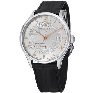 Maurice Lacriox Men's MP6807-SS001-111 'MasterPieceTraditional' Silver Dial Black Leather Strap Power Reserve Watch