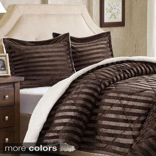 Premier Comfort Lennox Dobby Stripe Mink Reverse to Berber Comforter Mini Set