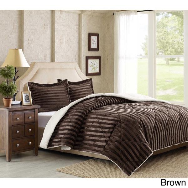 Premier Comfort Lennox Dobby Stripe Mink Reverse to Berber 3-piece Comforter Mini Set