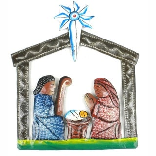Mini Painted Recycled Steel Drum Nativity Scene (Haiti)