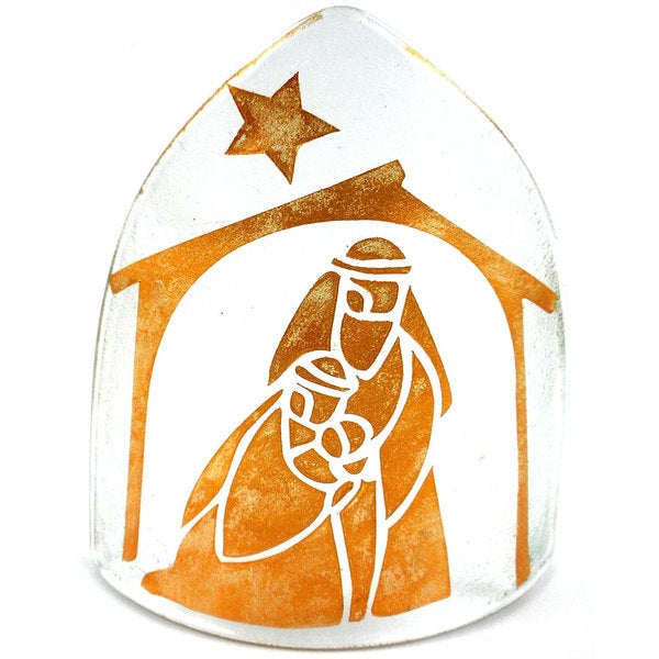 Handmade Copper Artisan Glass Nativity Candle Shade (Chile) 13401014