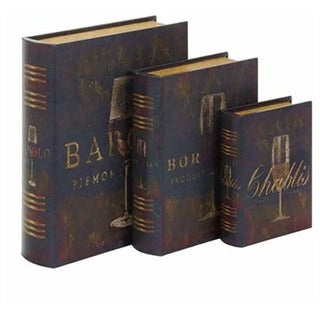 Wine Wood/ Leather Book Boxes (Set of 3)
