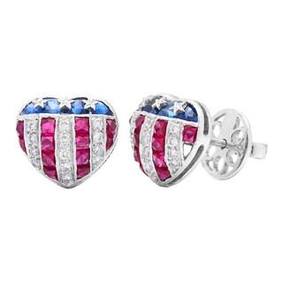 18k White Gold 1/4ct TDW Diamond and Gemstone United States Flag Estate Earrings (H-I, VS1-VS2)