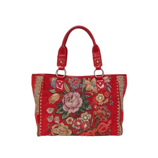 Mellow World Flower Shop Hand-beaded Vintage Floral Tote