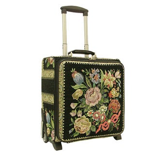 Mellow World Flower Shop 17-inch Hand-beaded Floral Rolling Carry-on Suitcase