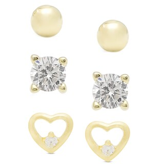 Dolce Giavonna Gold over Sterling Silver Cubic Zirconia Stud Earrings Set