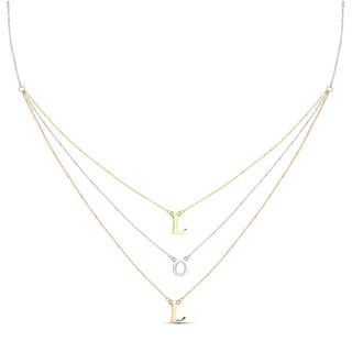 Sterling Silver Graduated 3-strand Tri-color LOL Necklace