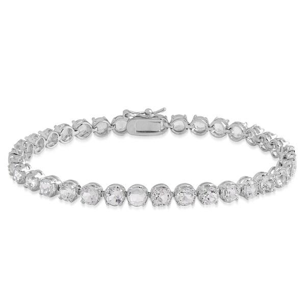 Dolce Giavonna Sterling Silver White Topaz Tennis Bracelet 13401171