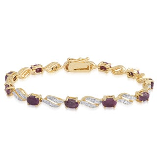Dolce Giavonna 14k Gold Overlay Diamond Accent and Gemstone Link Bracelet