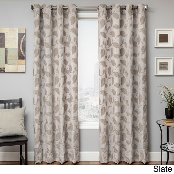 Astra Faux Linen Embroidered Leaf Grommet Top Curtain Panel