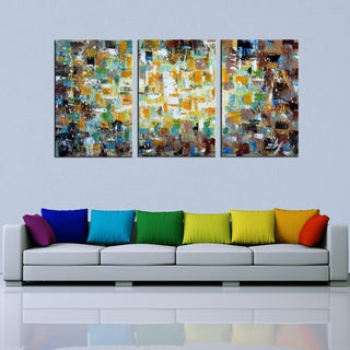 Hand-painted 'Abstract535' 3-piece Gallery-wrapped Canvas Art Set