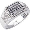 SilverMist Sterling Silver Men's 1/2ct TDW Grey and White Diamond Ring (H-I, I2-I3)