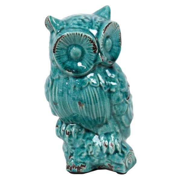 Antique Blue Ceramic Owl