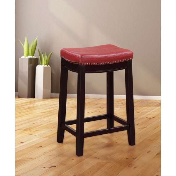 Oh Home Manhattanesque Backless Bar Stool Red Vinyl Seat