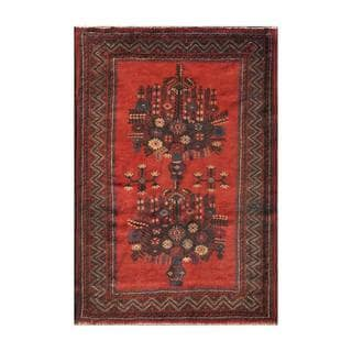 Herat Oriental Semi-antique Afghan Hand-knotted Tribal Balouchi Red/ Charcoal Wool Rug (3' x 4'4)