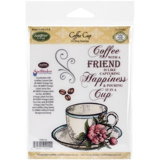 JustRite Papercraft Mini Cling Stamp Set 3.5inX4in-Coffee Cup 4pc