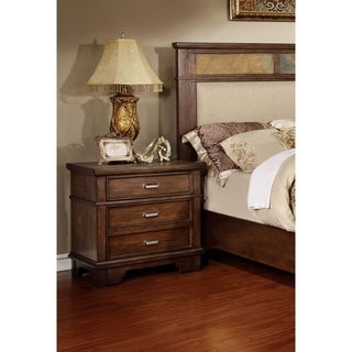 Furniture of America Glisea Brown Cherry 2-Drawer Slate Top Nightstand