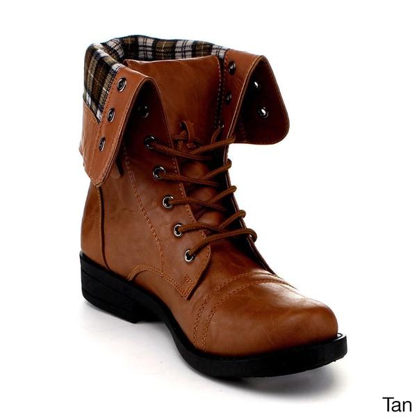 Anna Women's 'Tammy-12' Mid-Calf Cuffed Combat Boots