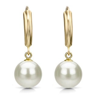 DaVonna 14k Yellow Gold White Cultured Pearl Dangle Earring (9-10 mm)