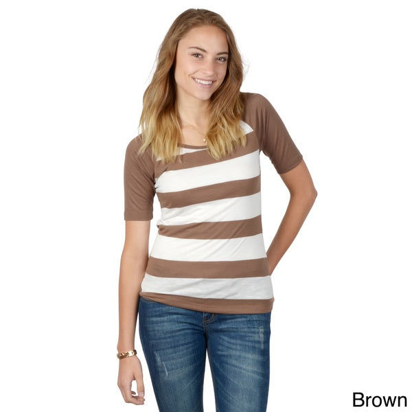 Hailey Jeans Co. Junior's Striped Round Neck Top
