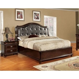 Furniture of America Jayden Crown 2-Piece Platform Bed with Nightstand Set