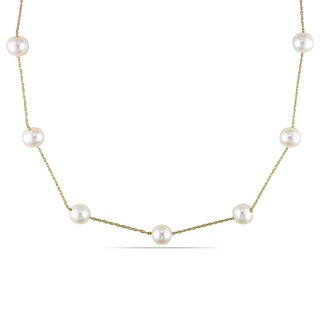 Miadora 10k Yellow Gold White Pearl Tin Cup Necklace (7-8 mm)