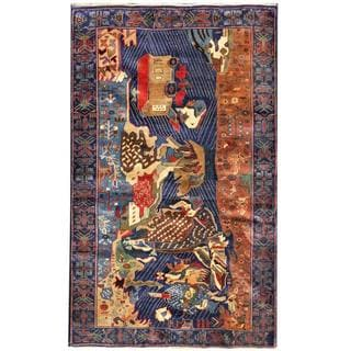 Herat Oriental Semi-antique Afghan Hand-knotted Tribal Balouchi Sapphire/ Brown Wool Rug (3'9 x 6'1)
