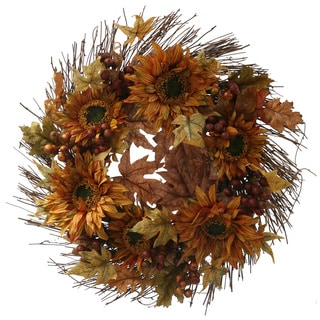 Christopher Knight Home 24-inch Fall Sunflower Berry Wreath