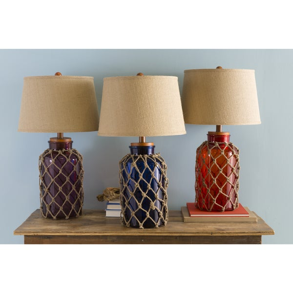 nautical glass and burlap table lamp 16428761 shopping great deals on table. Black Bedroom Furniture Sets. Home Design Ideas