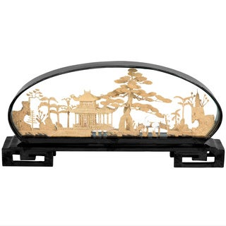 Hand-crafted Pine and Pagoda Cork Carving Accent Piece (China)