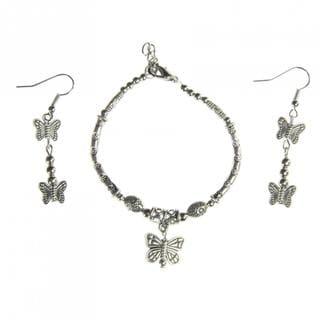 Handmade Tibetan Silver Butterfly Bracelet and Earrings Set (China)