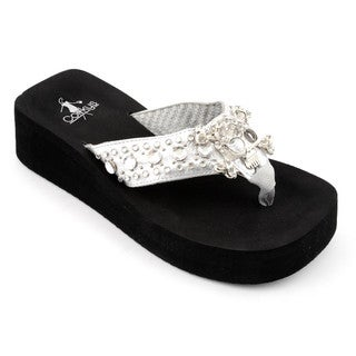 Corkys Women's 'Cher' Silver Metallic Wedge Sandals