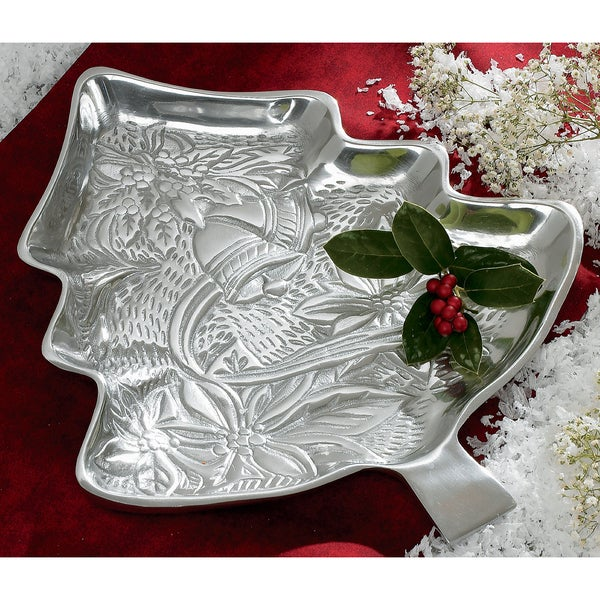 12-inch Embossed Aluminum Holiday Tree Platter