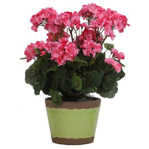 Christopher Knight Home Pink Geranium in Green Garden Pot