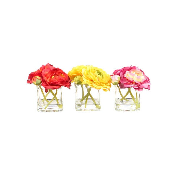 Christopher Knight Home Ranunculus in Glass Cube Assortment X 3