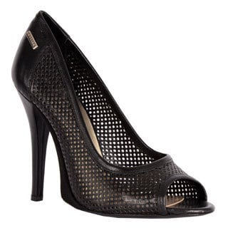 GF Ferre Women's Black Leather Perforated Peep-toe Pumps