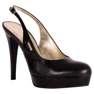 GF Ferre Women's Black Italian Leather Platform Dress Pumps