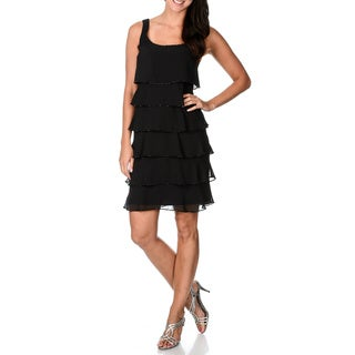 Patra Women's Black Multi-tiered Beaded Hem Evening Dress