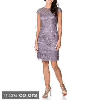 Patra Women's Shimmer Lace Cap Sleeve Short Sheath Dress
